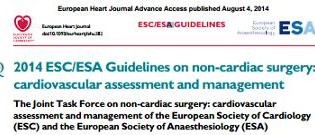 """Lo más destacado de la Cardiología en Artículos""      2014 ESC/ESA GUIDELINES ON NON-CARDIAC SURGERY: CARDIOVASCULAR ASSESSMENT AND MANAGEMENT: THE JOINT TASK FORCE ON NON-CARDIAC SURGERY: CARDIOVASCULAR ASSESSMENT AND MANAGEMENT OF THE EUROPEAN SOCIETY OF CARDIOLOGY (ESC) AND THE EUROPEAN SOCIETY OF ANAESTHESIOLOGY (ESA)."