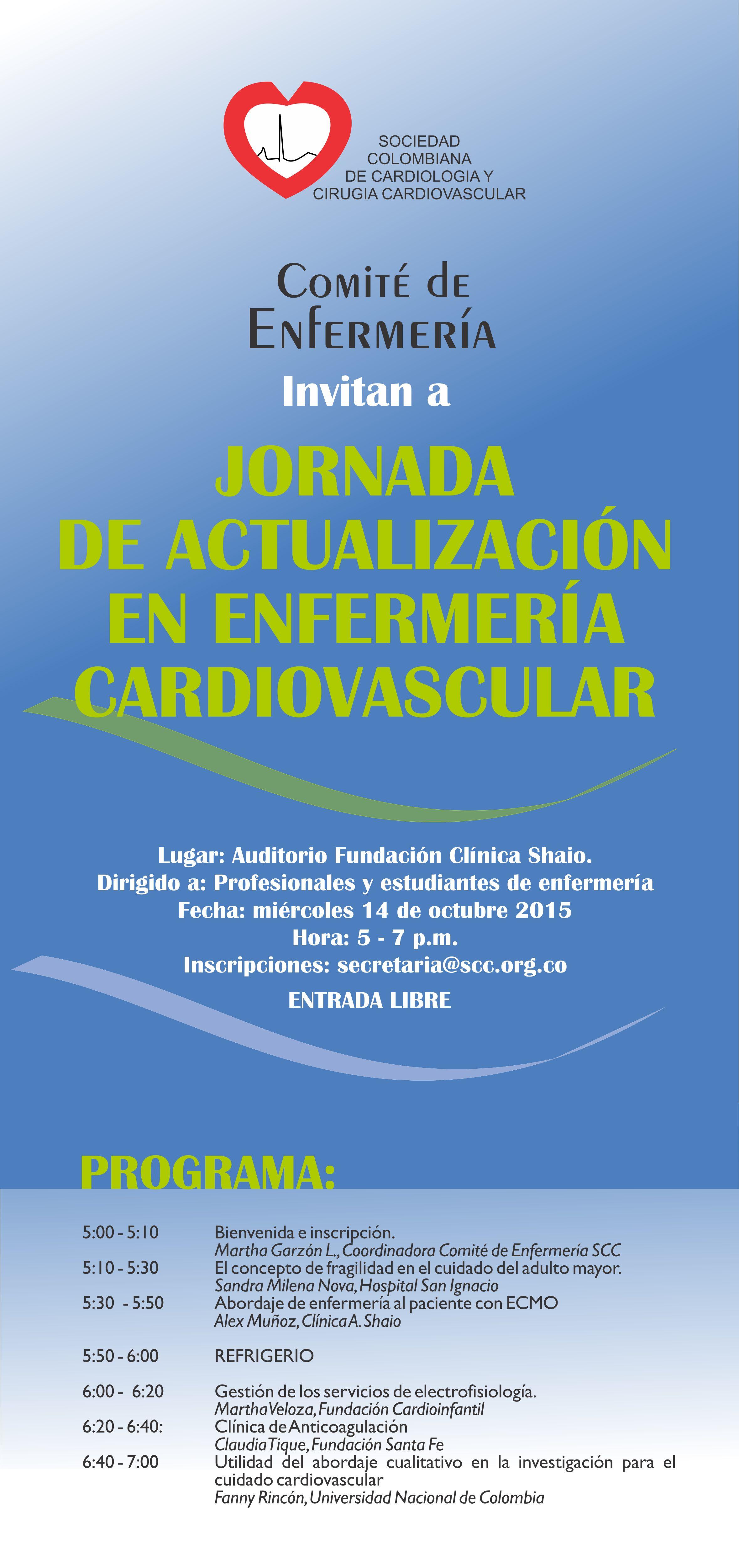 Jornada de Actualización en Enfermería Cardiovascular @ Auditorio Fundación Clínica Shaio