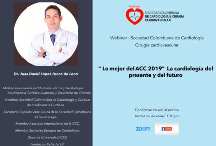 Webinar SCC: » Lo mejor del ACC 2019″ La Cardiología del presente y del futuro
